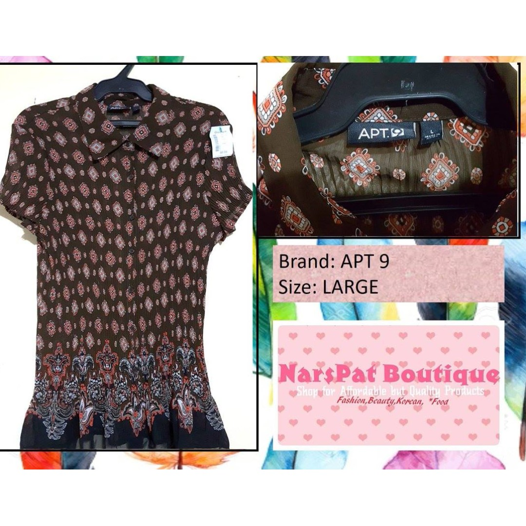 APARTMENT 9 LARGE BLOUSE, Preloved Women\'s Fashion, Clothes on Carousell