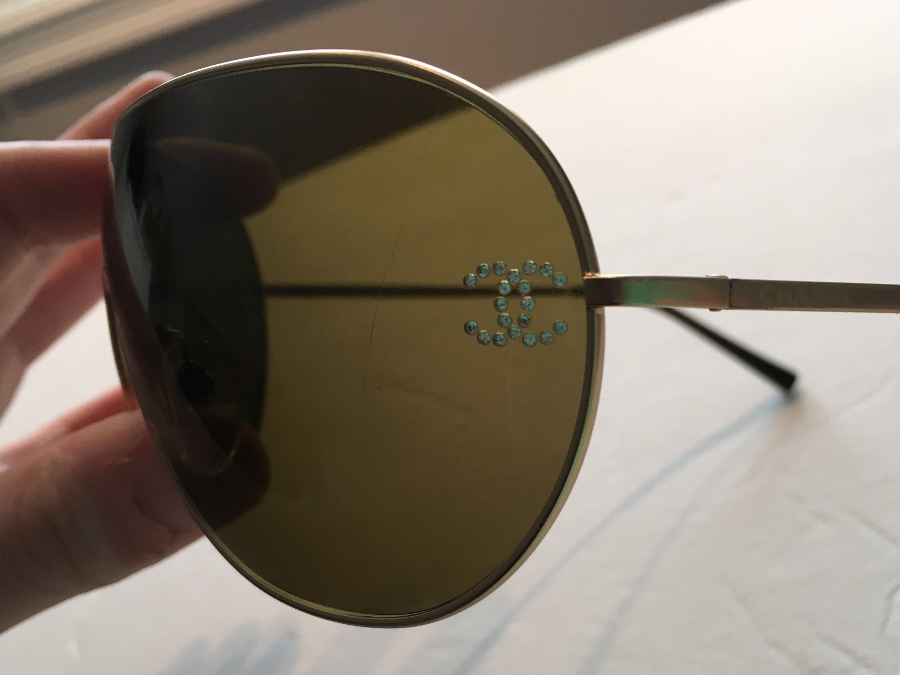 AUTH Gold Chanel Sunglasses