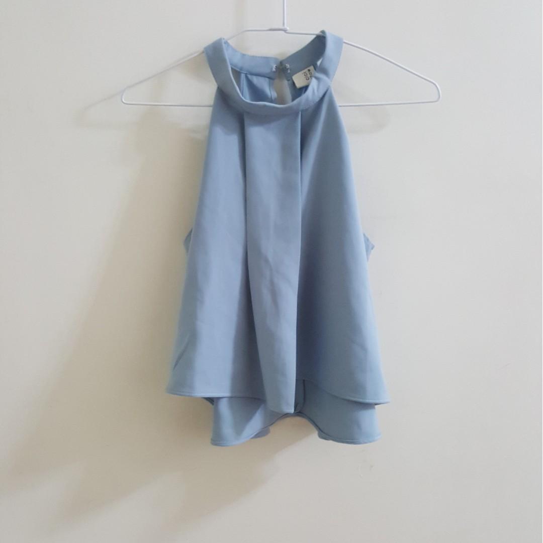 【二手】正韓baby藍質感削肩背心上衣
