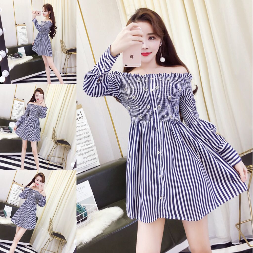 Baju Impor Party Mini Dress Long Sleeve Fashion Wanita Cewek Code