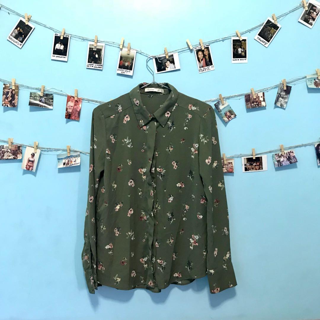 BERSHKA  Army Green Long Sleeve Blouse.
