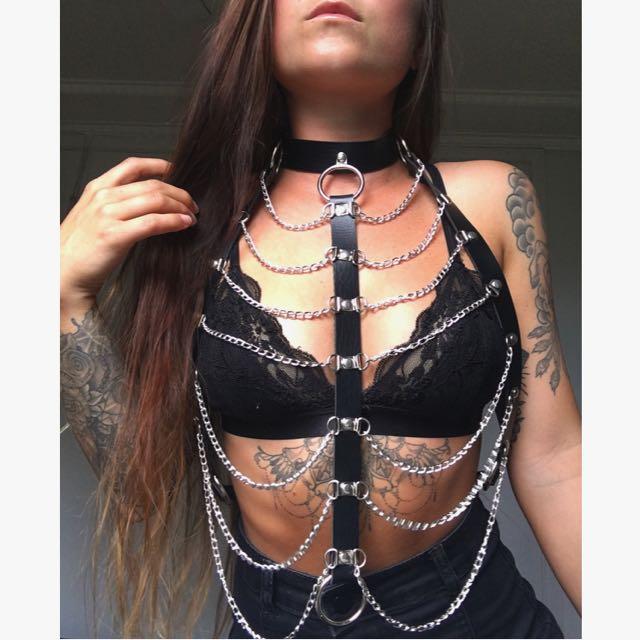 Black faux vegan leather & chain harness bra