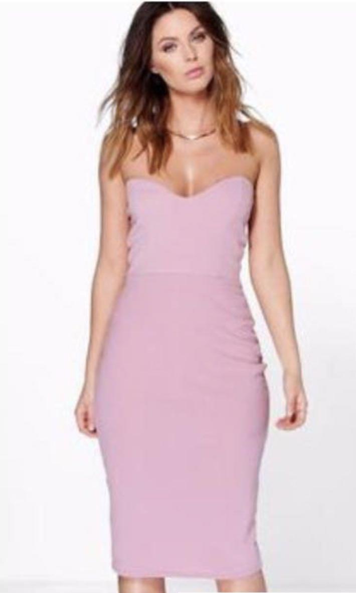 Brand new mauve bandeau midaxi dress