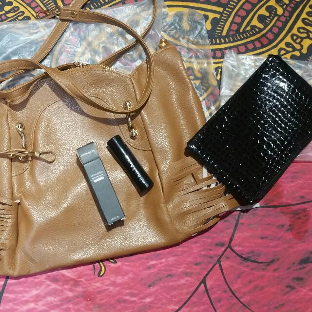 BRANDNEW korean bag+lippies+pouch first to pay first to reserve
