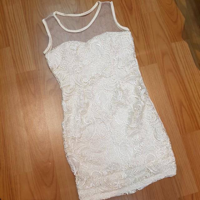 Brokat Dress ( White / Black )