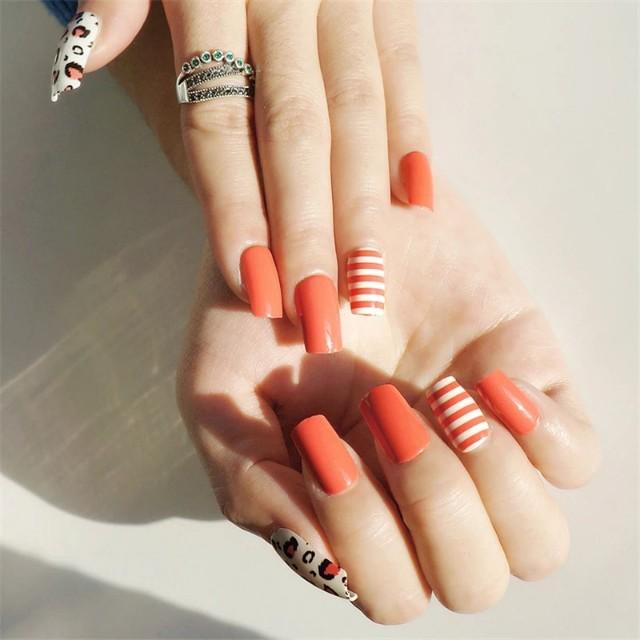 Cherry Tomato Color False Nail with Designs Shiny Long Fake Nails UV ...