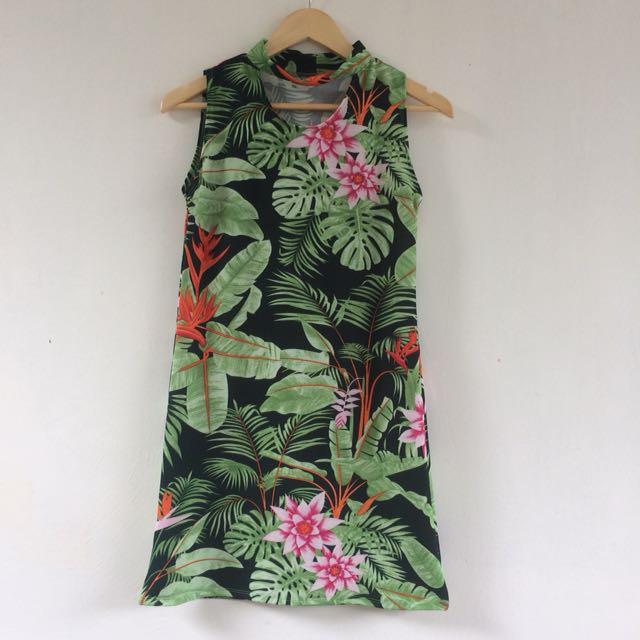 Choker Leaf Print Dress