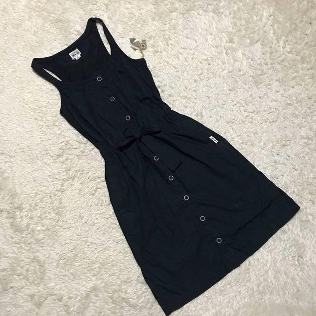 CONVERSE ALL STAR black Midi Tie waist Button Down Dress