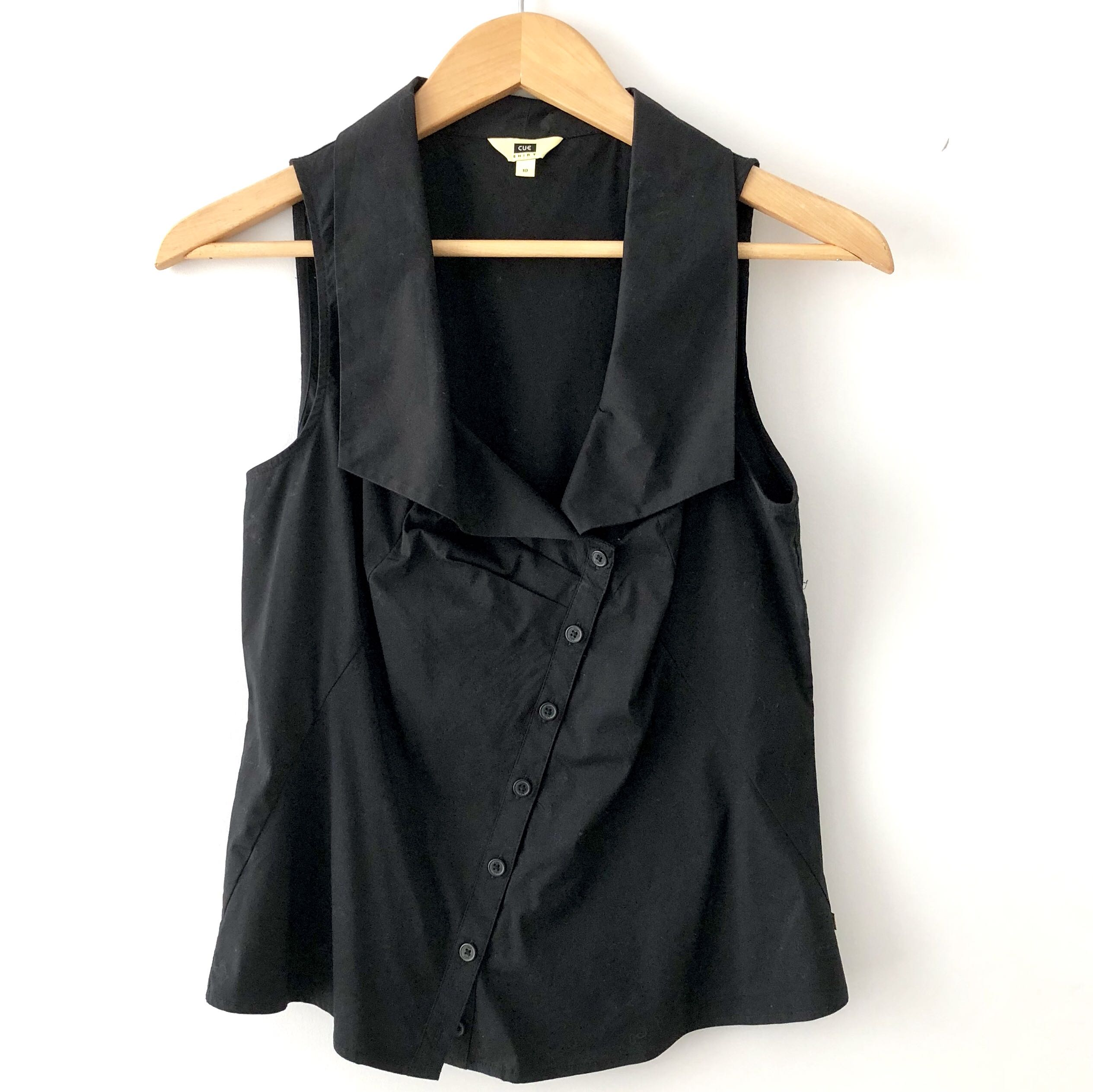 Cue asymmetrical button up sleeveless blouse / shirt in black