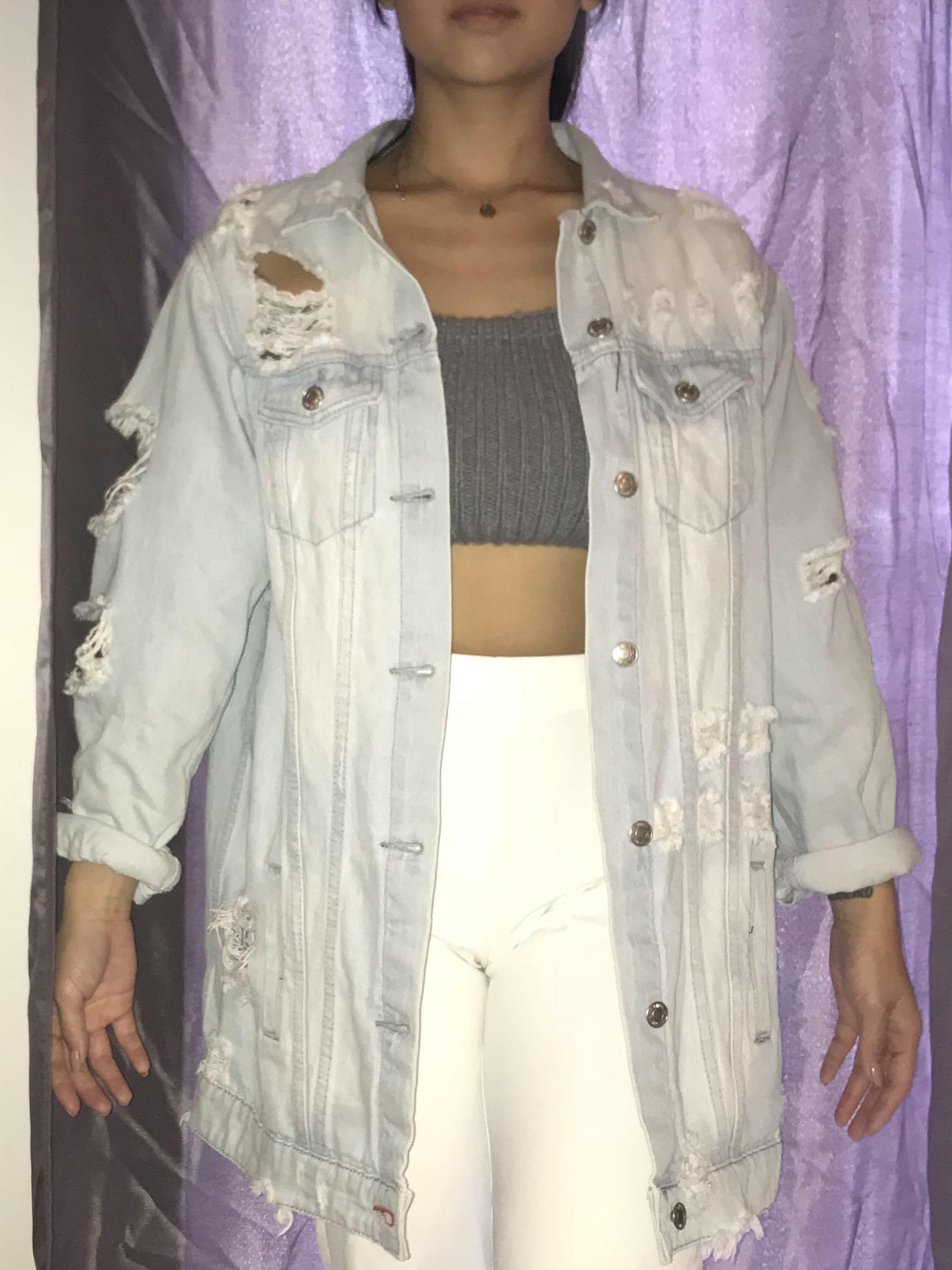Distressed denim jacket small