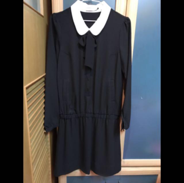 epanouir黑色白領雪紡洋裝