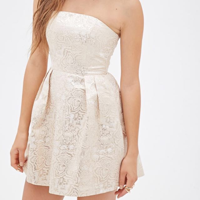 F21 gold brocade strapless mini dress
