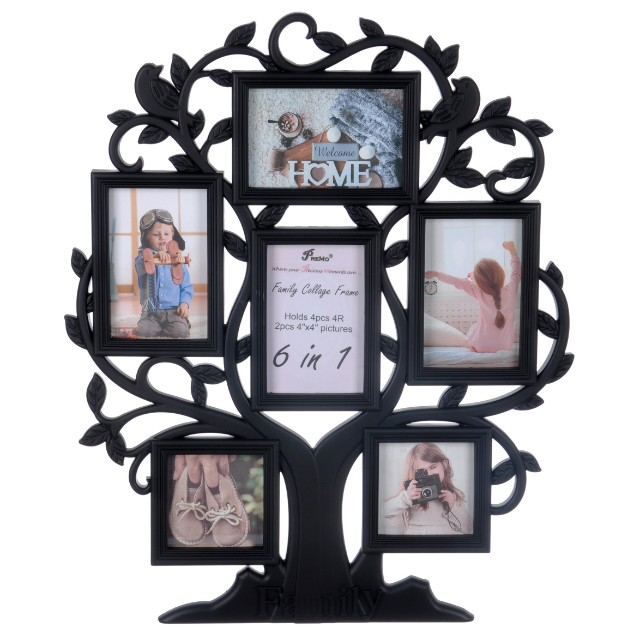Family Tree Collage Photo Frame 6in1 Black Furniture Home