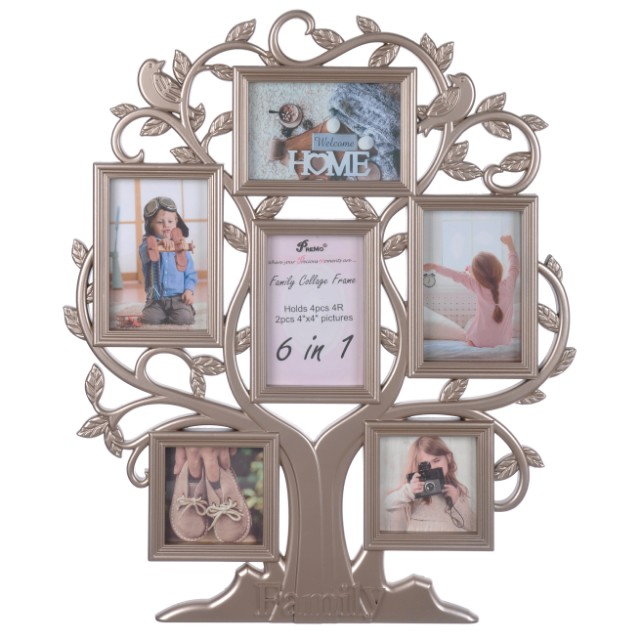 Family Tree Collage Photo Frame 6in1 Bronze Furniture Home