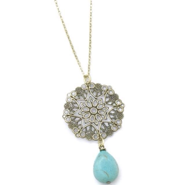 Filigree Necklace with Teardrop Torquoise Stone