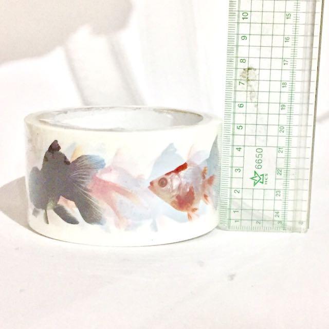 Flying tiger 寬版膠帶 白底金魚圖案