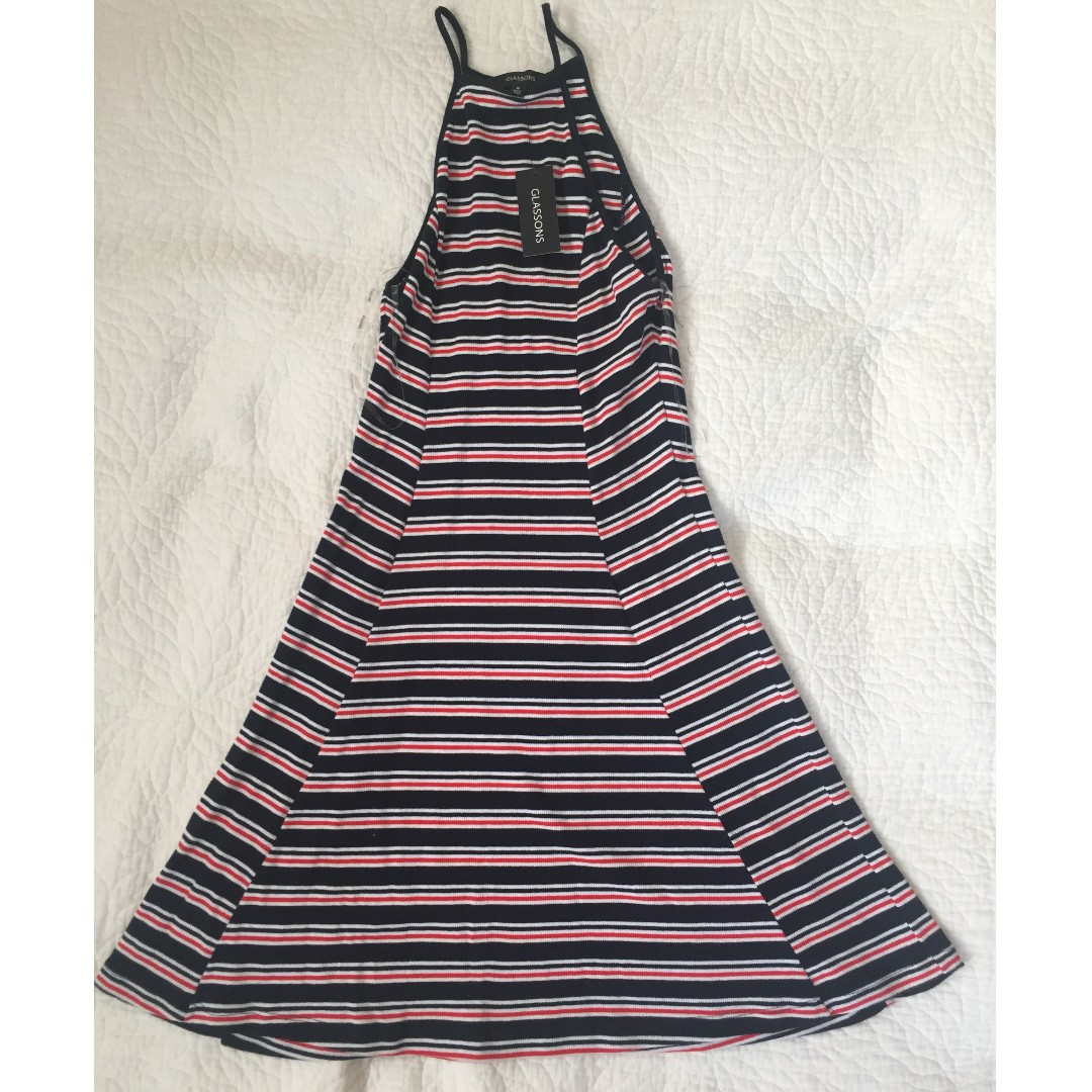 GLASSONS - red and navy dress, brand new with tags