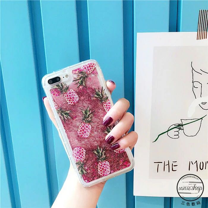 Glitter pink pineapple phone case