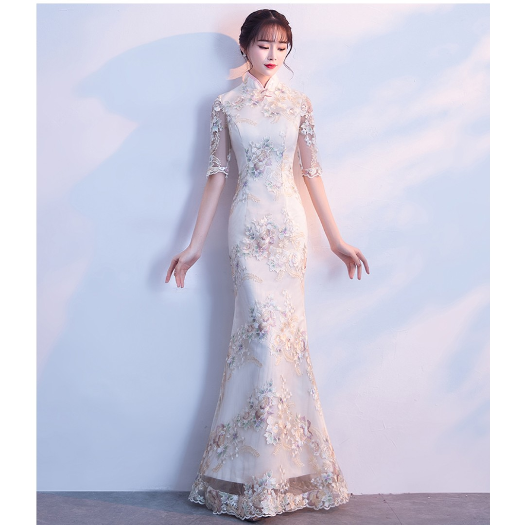 Gown Collection - Classic Elegant Cheongsam Design Mid Length Sleeves Champagne Gown