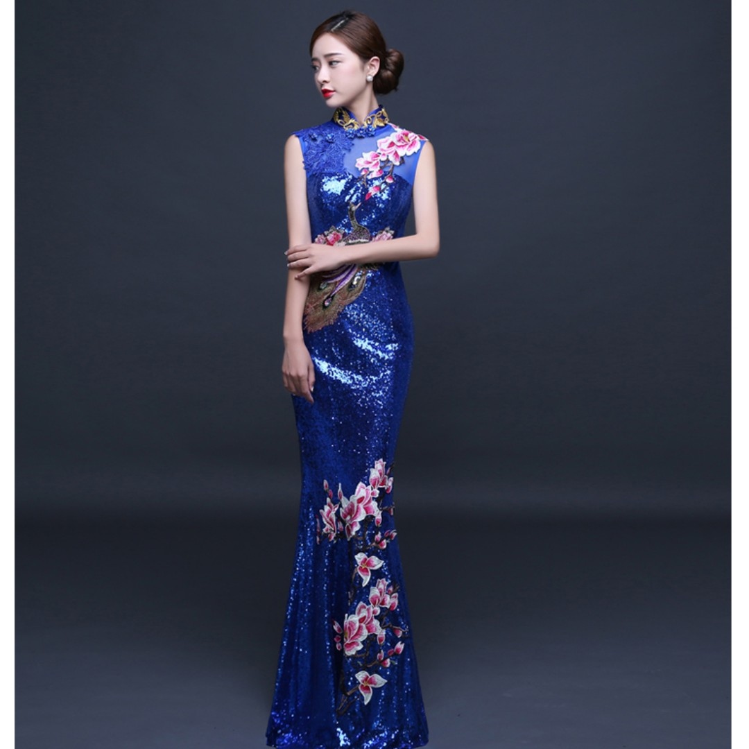 Gown Collection - Oriental Eastern Traditional Cheongsam Style Shining Mermaid Gown