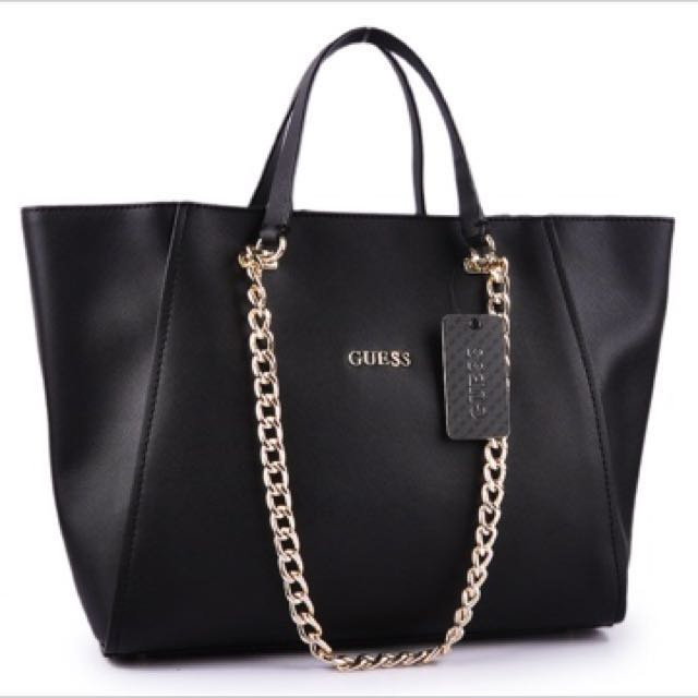 Guess black big bag, Women's Fashion, Bags