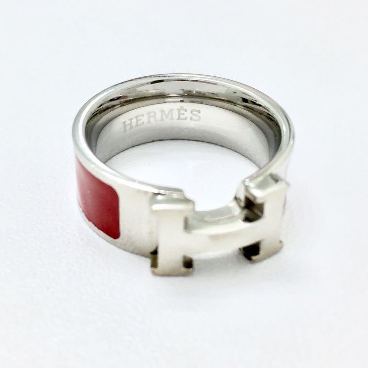 Hermes Red Enamel Ring Replica