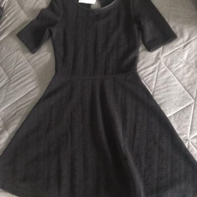 H&M black skater dress size 6