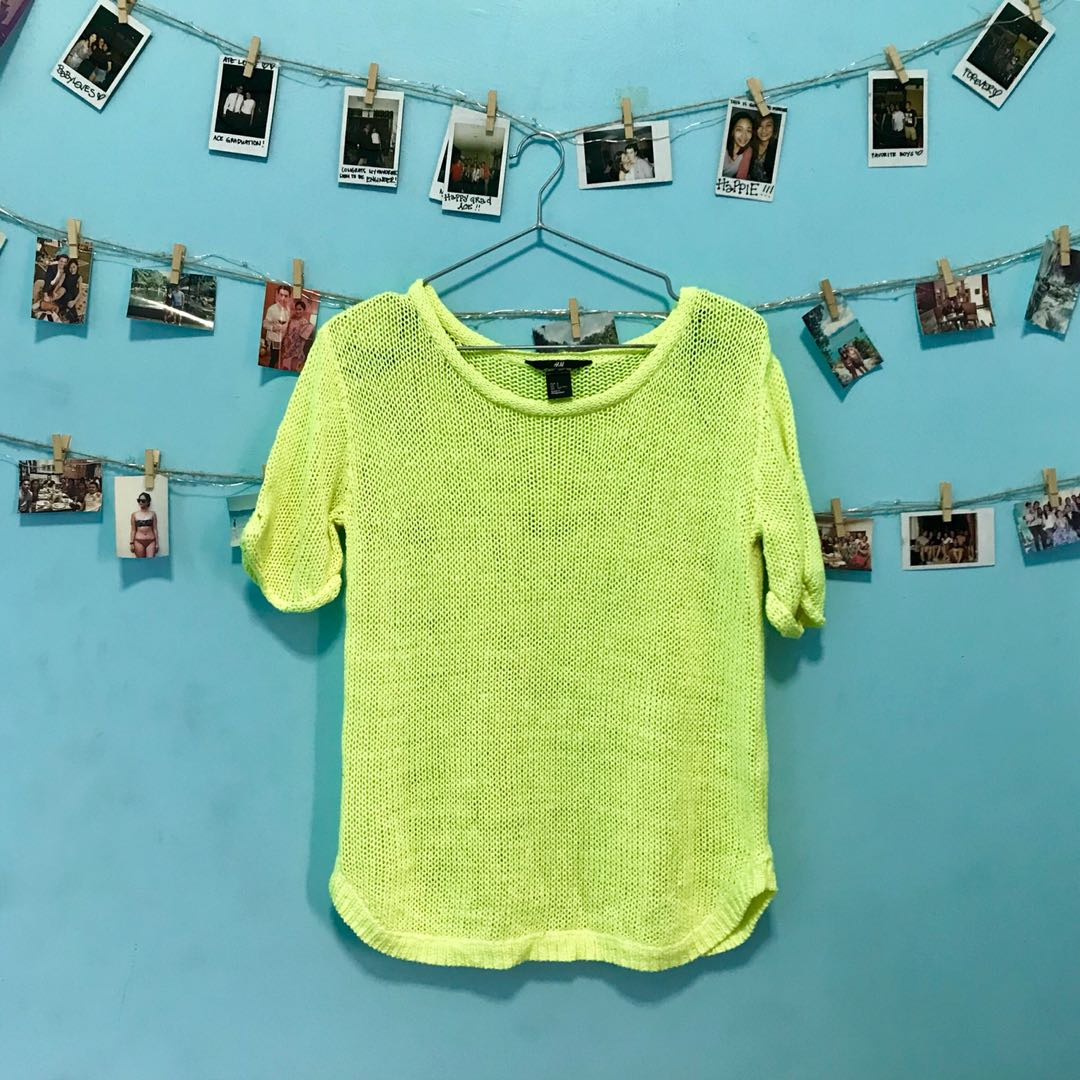 H&M Neon Yellow Green Knitted Top.