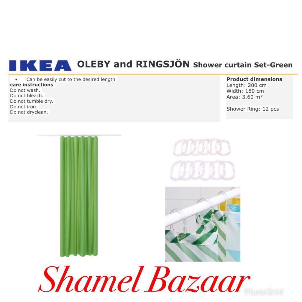 IKEA OLEBY AND RINGSJÖN Shower curtain Set- Green