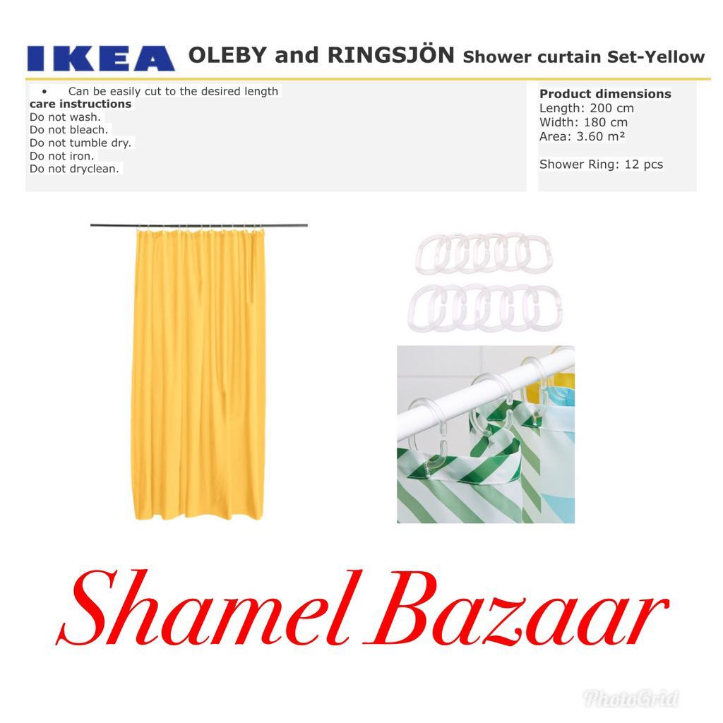 IKEA OLEBY AND RINGSJÖN Shower curtain Set- Yellow