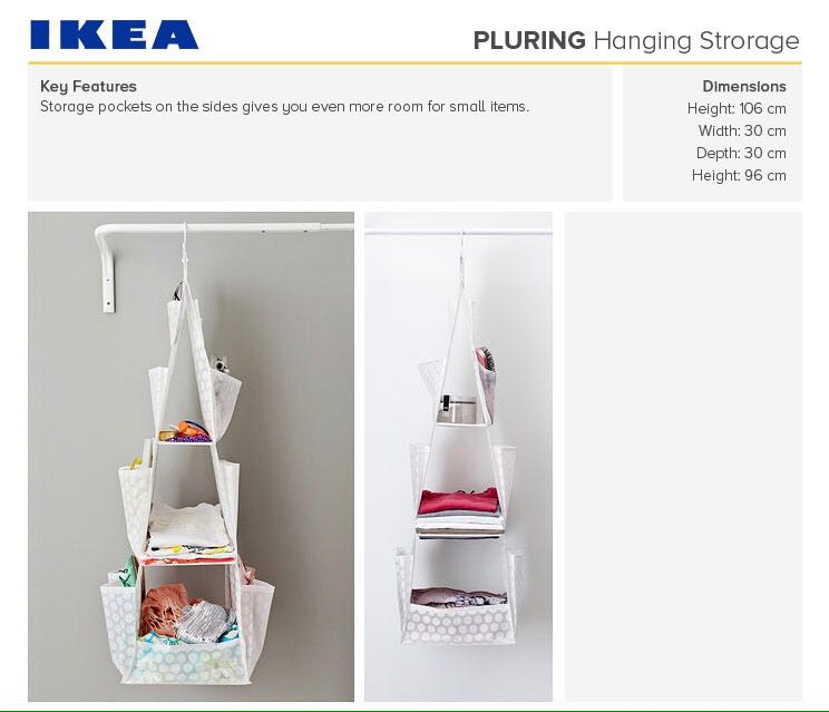 IKEA PLURING Hanging storage with 3 compartments, white