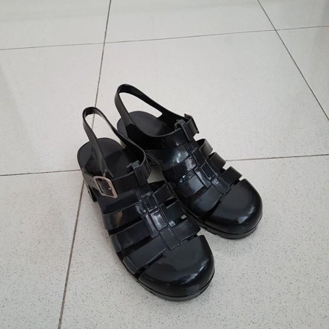 Jelly shoes jellyshpes wedges hitam black