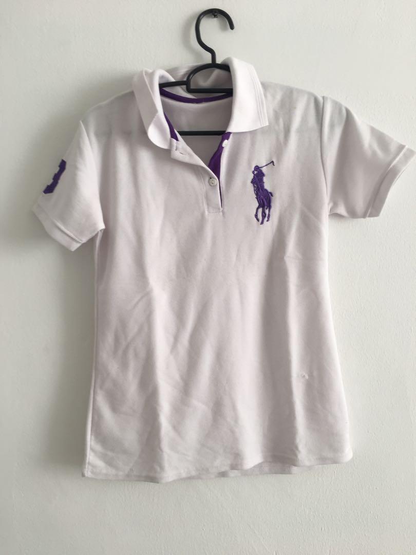 Kaos polo atasan top wanita baju perempuan ukuran S size putih ungu lengan pendek zara uniqlo guess stradivarius