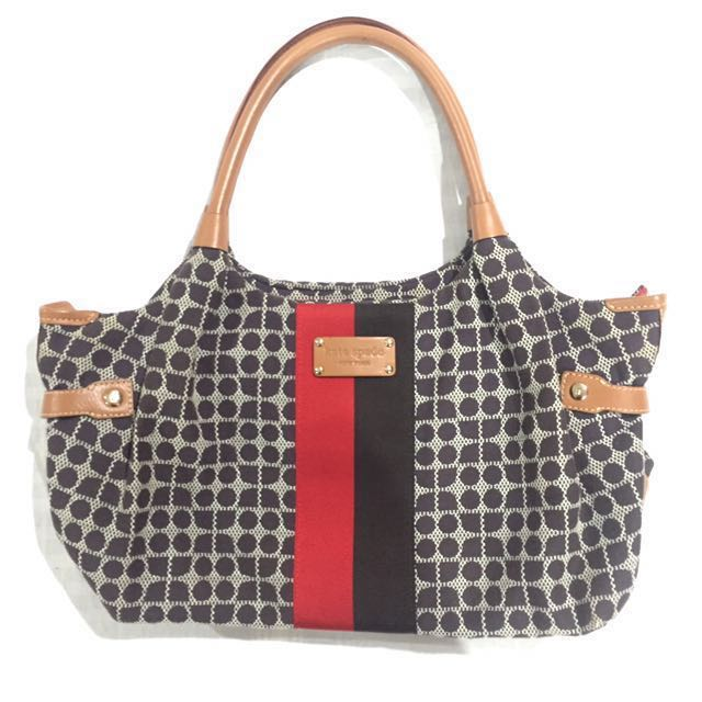Kate Spade Red/Tan/Ecru Tote Bag
