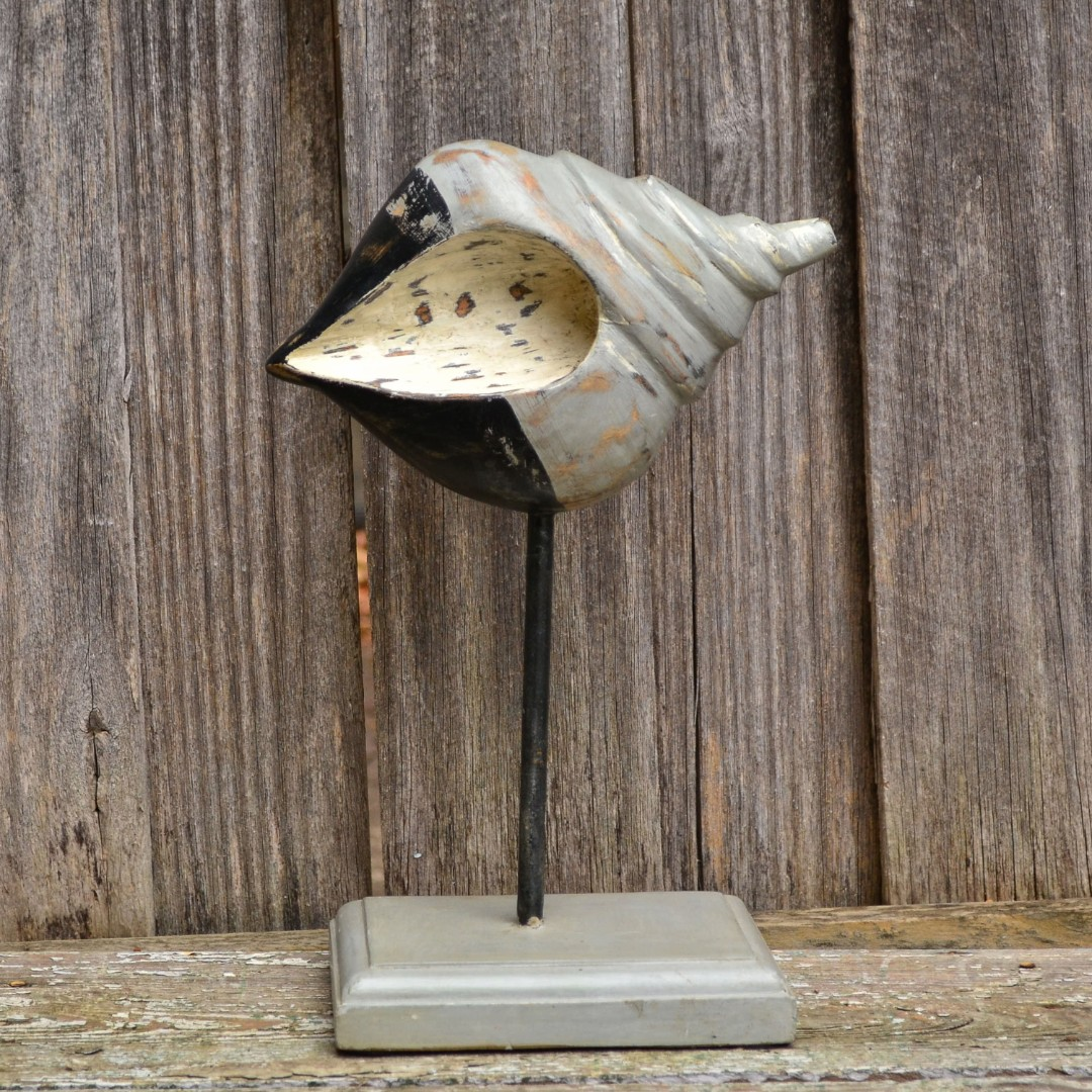 Large Rustic Grey & Black Timber Conch Shell Statue on Stand