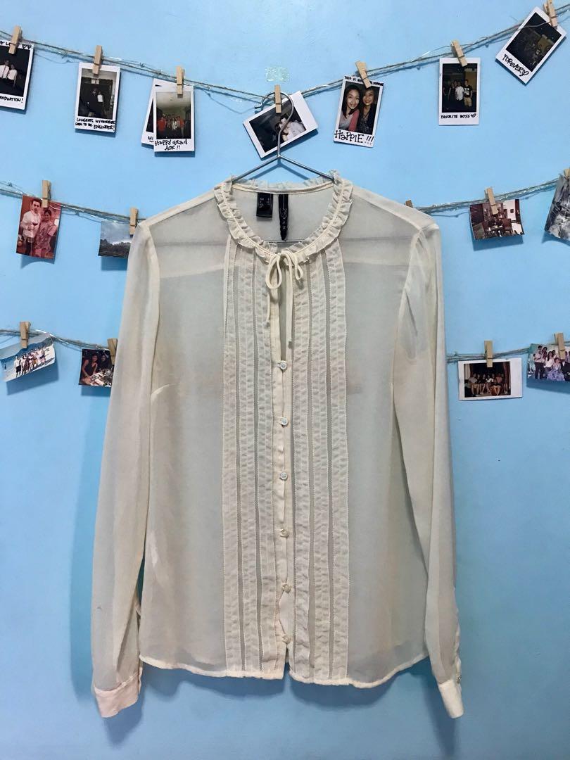 MANGO Suit Seethrough Silk Cream Longsleeve Blouse.