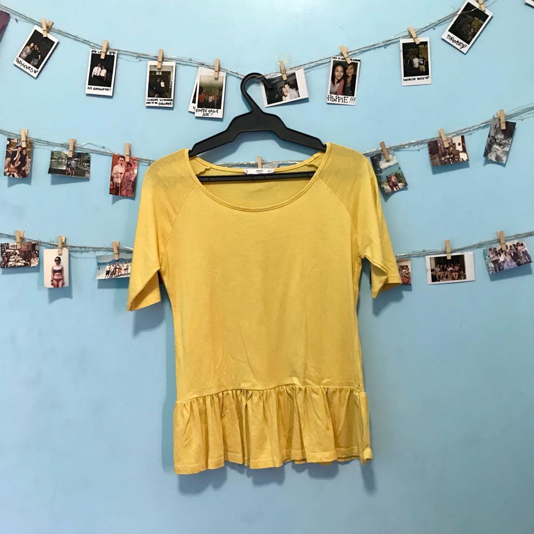 MANGO Yellow Cotton T-shirt Blouse.