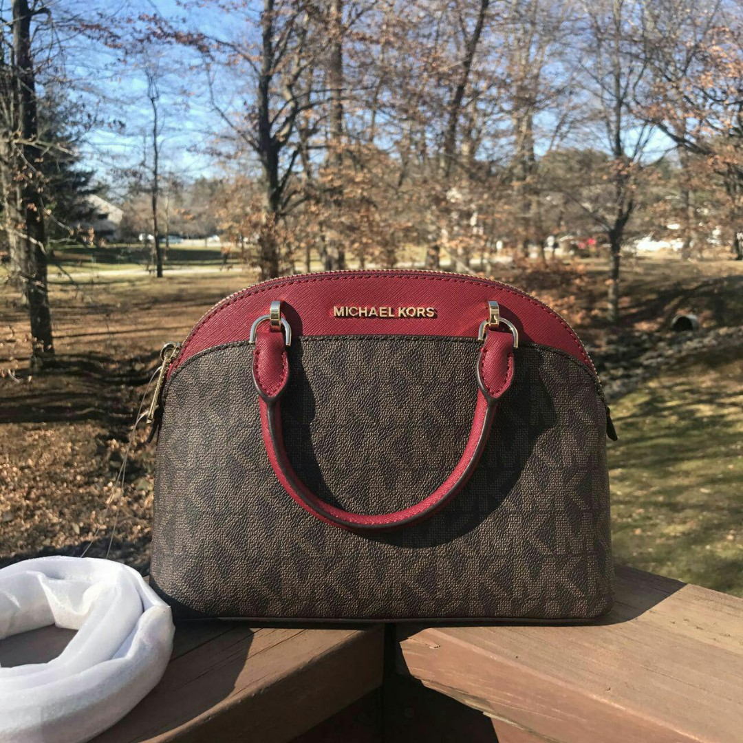 01000531d17c MICHAEL KORS EMMY SM DOME SATCHEL(BROWN/CHERRY), Women's Fashion, Bags &  Wallets on Carousell