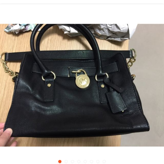 78060512b7f5 Michael Kors MK black leather tote with gold lock kate spade Tory ...