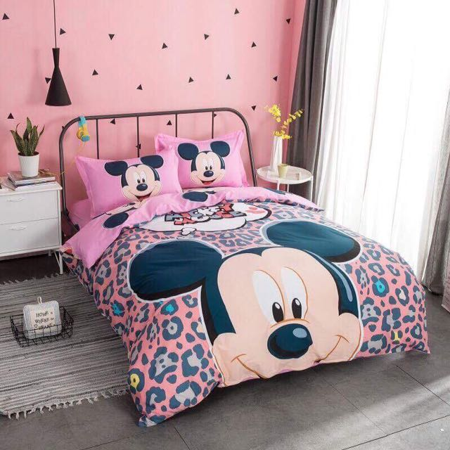 Mickey Mouse 100% COTTON Comforter Set Bedsheets, Home U0026 Furniture On  Carousell