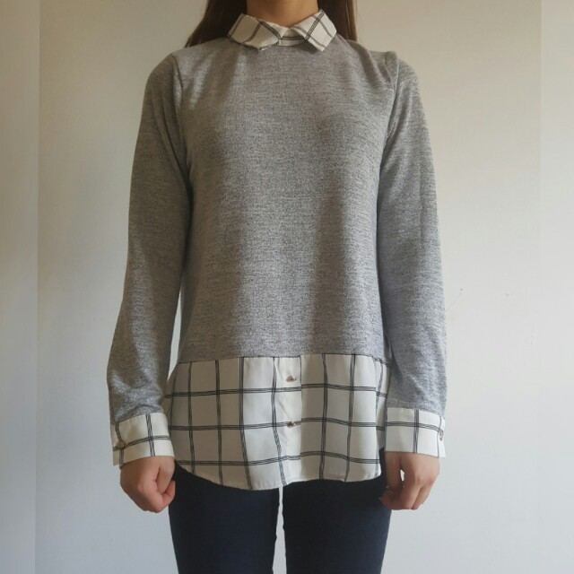 Mirrou Collared Grey Long Sleeved Shirt