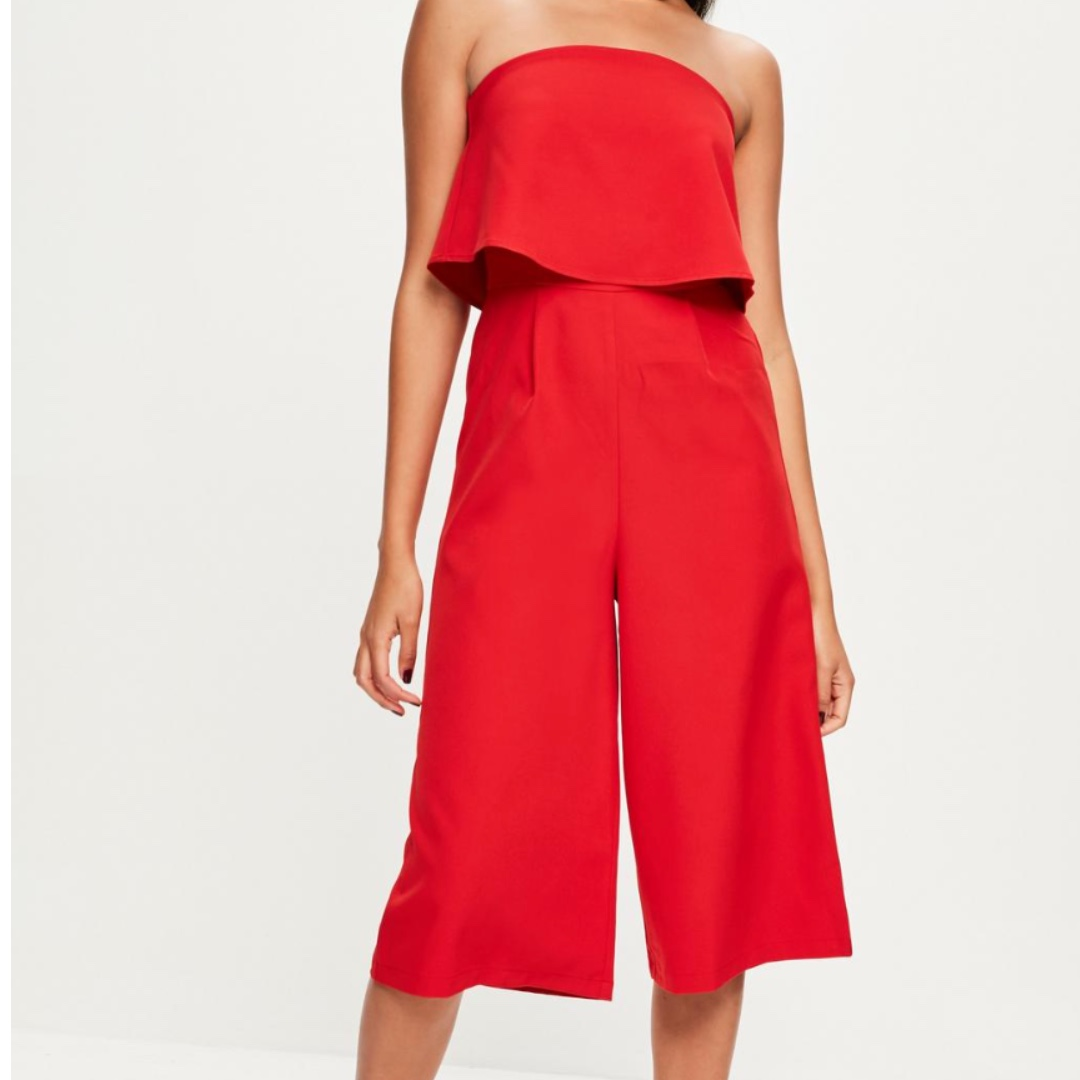 MISSGUIDED Red Culotte Jumpsuit