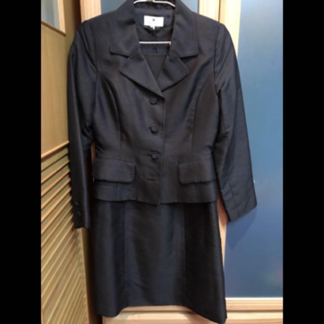 M's gracy日本貴族品牌黑色微緞面兩件式套裝