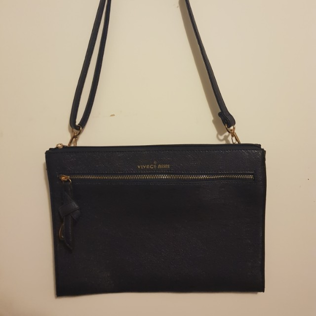 Navy clutch with strap