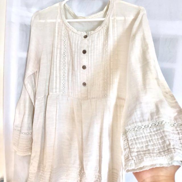 Off-White Linen Smock Dress