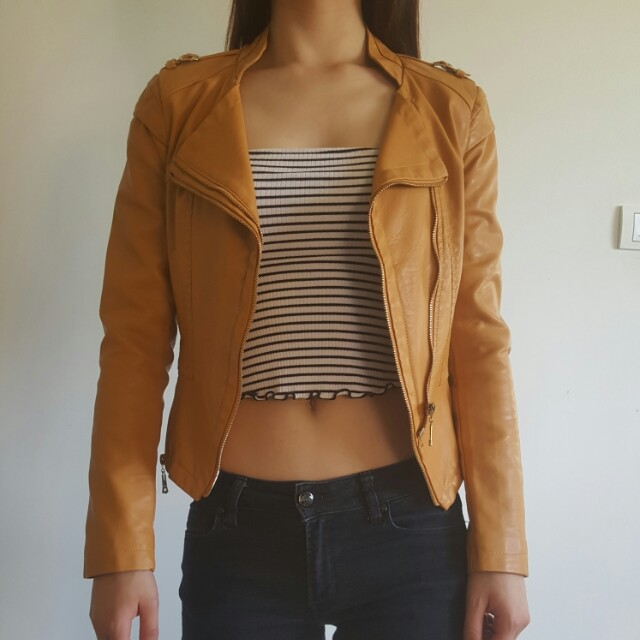 Orange Brown Biker Leather Jacket