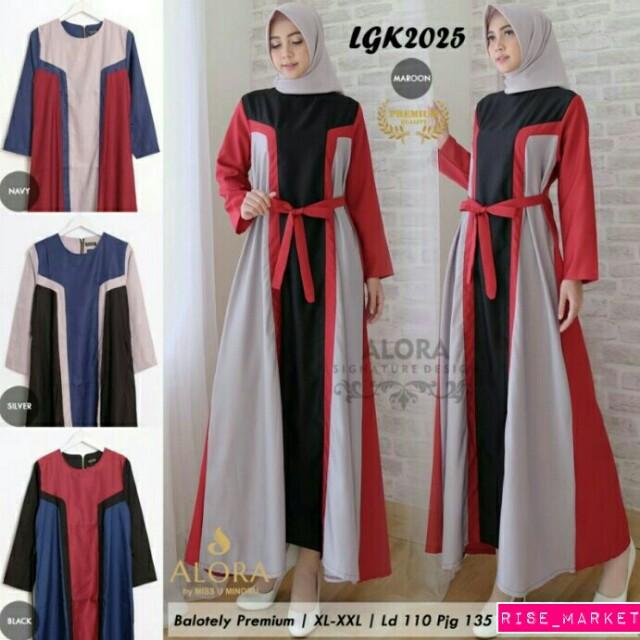 Ready stock maxi dress gamis by alora