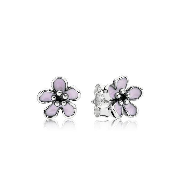 Pandora Pink Cherry Blossom Flower Stud Earrings