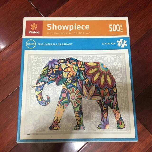 二手pintoo塑膠拼圖500片圖騰大象