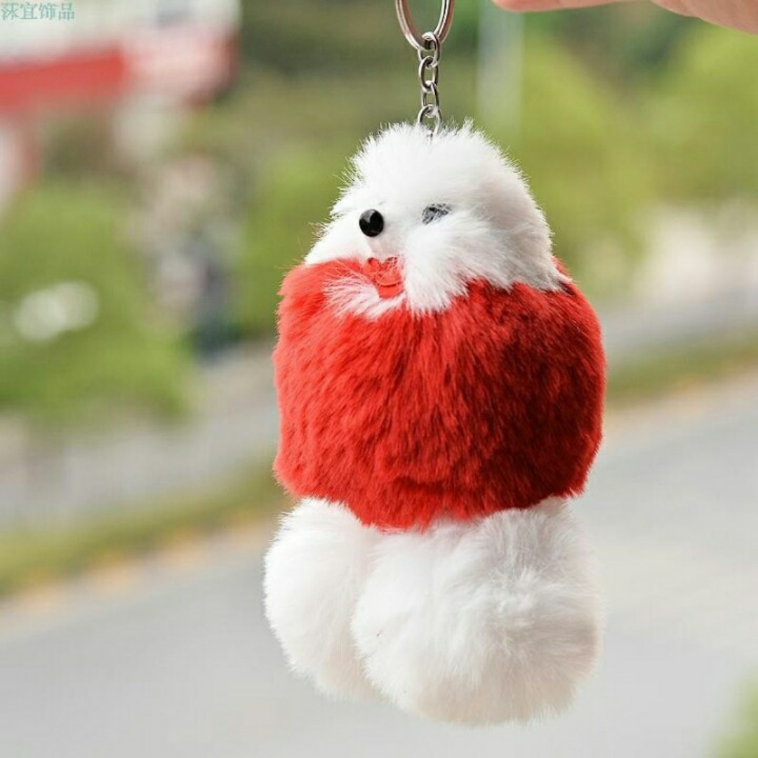 Poodle style furball keychain/bag charm